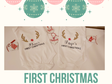 For Sale: Personalised 1st Christmas baby vest