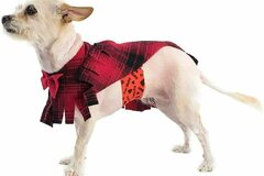 Liquidation/Wholesale Lot: Poocho Fleece Dog Poncho Red Plaid With Bow – Dog Clothing