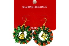 Buy Now: 12 Pairs Fuzzy handmade Christmas Earrings. Wreath with bell