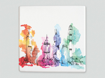 : Hong Kong skyline placemat/trivet