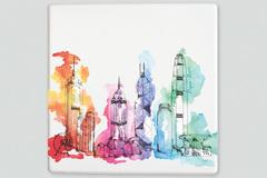 : Hong Kong skyline placemat/trivet
