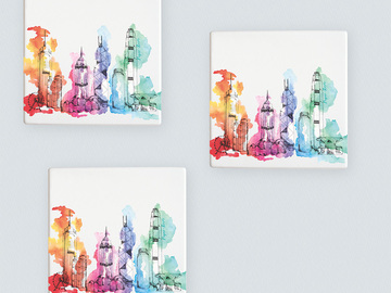 : Hong Kong skyline coasters