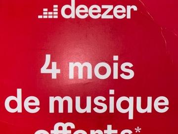Vente: Carte Deezer - 4 mois de musique offerts (40€)