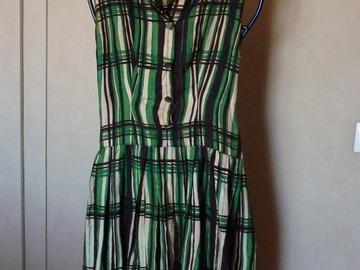 Vente au détail: Robe soie vintage 1970 rayures noire/verte t.38/40