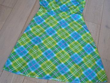 Vente au détail: robe vintage coton carreaux vert turquoise jaune t.36