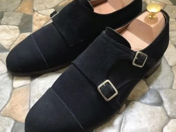 Selling with online payment: Meermin Navy Suede Double Monks UK7.5