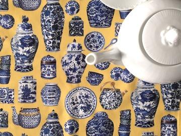 : Tea towel : Porcelain on yellow