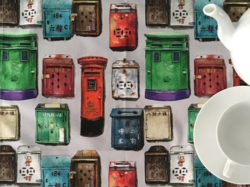: Tea towel : HK mailboxes