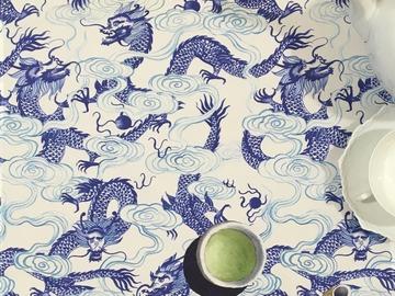 : Tea towel : Dragon and wave