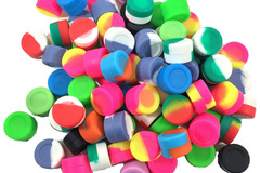 Liquidation/Wholesale Lot: 50 Pc Non-Stick 3ml Silicone Jars Assorted Colors