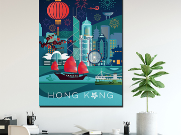 : HONG KONG GEOMETRIC SKYLINE CANVAS