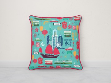 : I LOVE HONG KONG CUSHION COVER - AQUA WITH RED TRIM