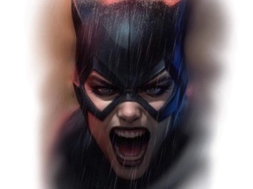 Tattoo design: DC - Snarling Catwoman Portrait