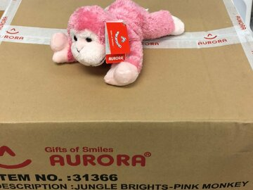 Buy Now: Sealed Case of Aurora Jungle Brights Pink Monkey Plush 24 pieces