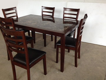 For Sale: MARBLE Wooden Dining Suite--Two Sizes