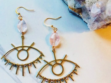 Selling: Rose Quartz & Tourmaline Eyes - Dangle Earrings - Brass Earrings