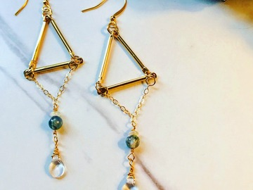Selling: Geometric Gold-Plated Earrings with Chain, Opals, Moss Agate