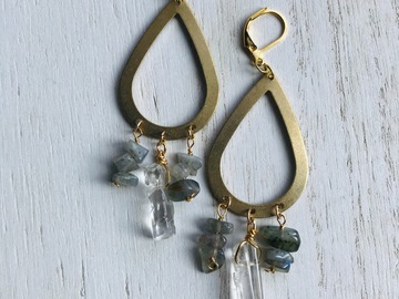 Selling: Labradorite and Crystal Quartz Dangle Earrings