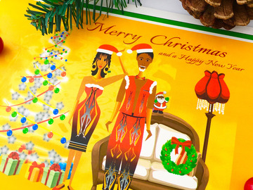 For Sale: AFRO ETHNIC CHRISTMAS GREETING CARD - A5 matte glossy By Livz
