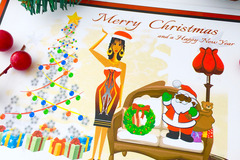 For Sale: AFRO ETHNIC LADY CHRISTMAS GREETING CARD. A5 matte glossy by Livz