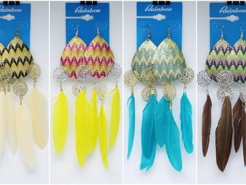 Liquidation/Wholesale Lot: Dozen Fashion Feather Drop Earrings by Rainbow nwt