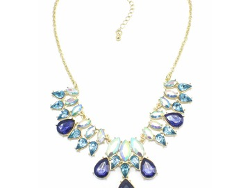 Liquidation/Wholesale Lot: Dozen New Gold Statement Necklace with Blue Stones nwt
