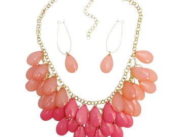 Liquidation/Wholesale Lot: Dozen Necklace Earring Sets with Teardrop Beads