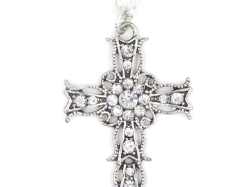 Liquidation/Wholesale Lot: Dozen New Ornate Silver Rhinestone Cross Necklaces