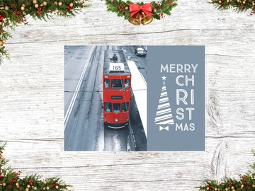 : Christmas Card 3 ( A Red Tram in the cold)