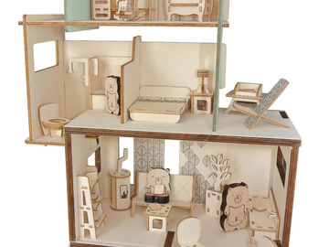 Vente avec paiement en direct: Maison de poupées et de figurines - Jouet en bois fabriqué en Fra