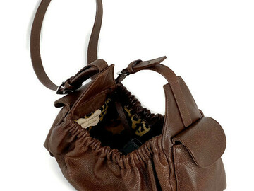 Selling: Classic Leather Dog Sling Carrier-Nu Brown with Leopard Lining-SM