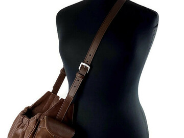 Selling: Classic Leather Sling Dog Carrier Nu Brown with Leopard Lining-MD