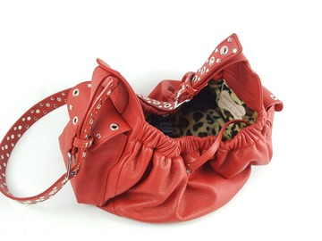 Selling: Jaxon Red Leather Sling Dog Carrier with Leopard Lining-Small