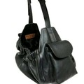 Selling: Classic Leather Dog Sling Carrier Black with Black Lining-Med
