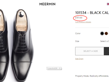 Selling with online payment: NEW!! Meermin Mallorca Black Oxford Shoes Elton Last UK8.5