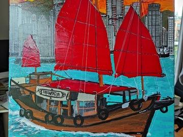 """: Acrylic Painting """"Hong Kong Skyline and Junk boat"""""""