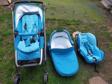Vente: poussette bébéconfort + nacelle + cosy turquoise
