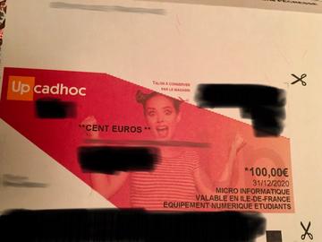 Vente: Chèque cadeau Cadhoc matériel informatique (100€)