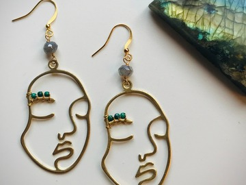 Selling: Feminine Faces - Malachite and Labradorite Earrings