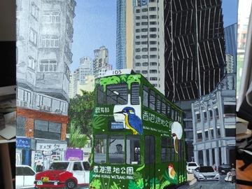 ": Acrylic Painting ""Tram ride in Wanchai"""