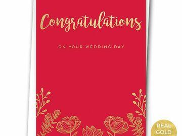 : GOLD FLORALS - WEDDING CARD