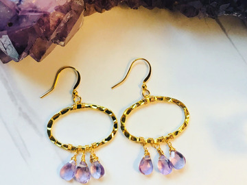 Selling: Amethyst Wire Wrapped Dangle Earrings