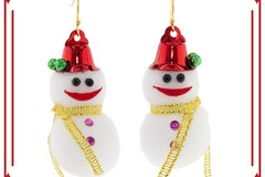 Buy Now: 12 Pairs of handmade Christmas Earrings. Cotton Snowman