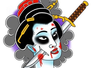 Tattoo design: Geisha
