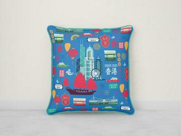 : I LOVE HONG KONG CUSHION COVER - BLUE WITH AQUA TRIM