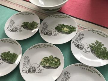Vente: Assiettes et saladier «service salade «à offrir