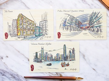 : HK Sketching 3 Bamboo Cards – Victoria Harbour, Pawn, PMQ
