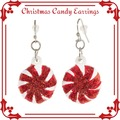 Liquidation/Wholesale Lot: 12 Pairs of Candy Peppermint Swirls Christmas Earrings