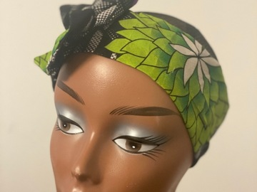 For Sale: Green Leaf Ankara print Bow headband