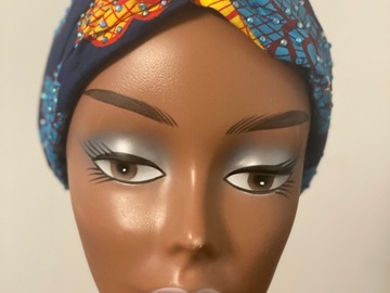 For Sale: Blue stoned Ankara headband